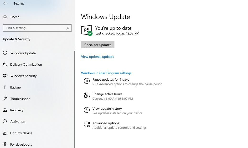 Click Check for updates in Windows Update